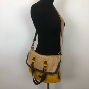 Fossil basket weave leather crossbody bag purse